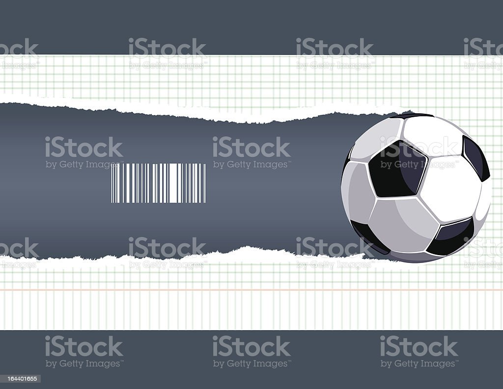 The ball breaks a piece of paper royalty-free stock vector art