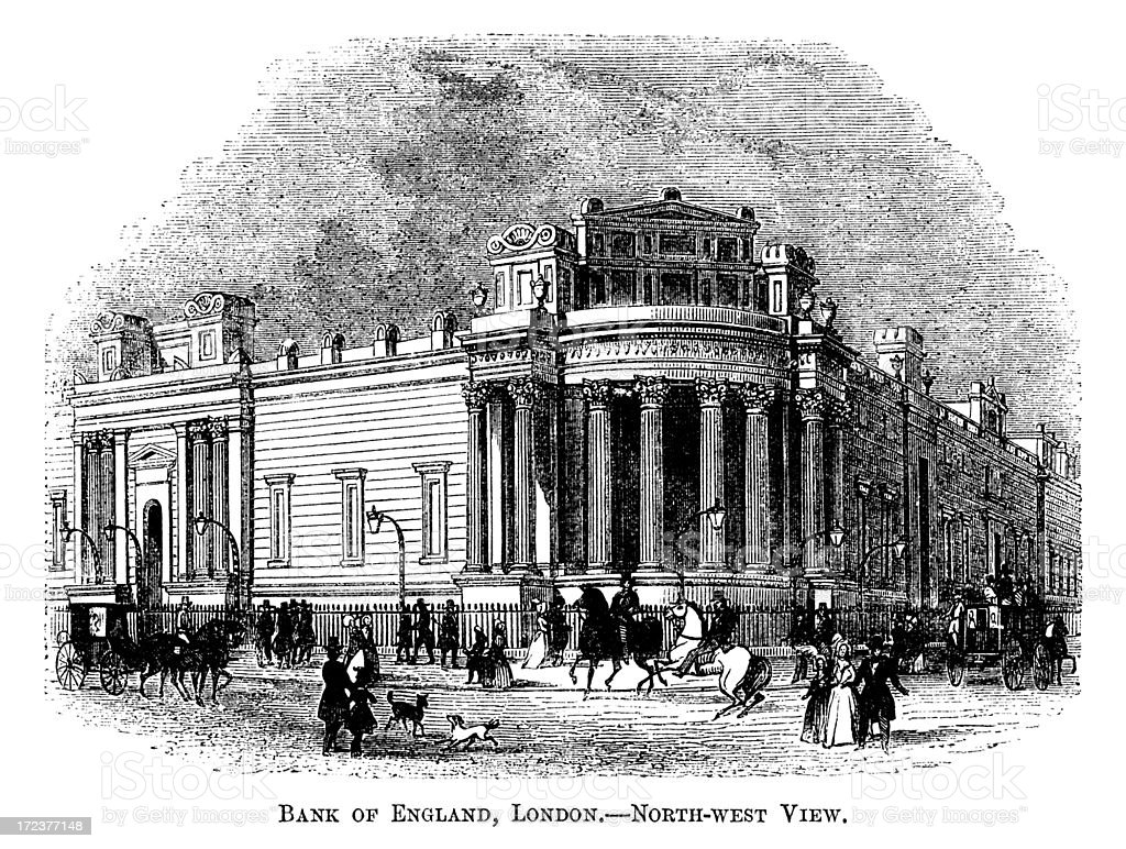 The Bank of England in 1863 (Victorian woodcut) royalty-free stock vector art