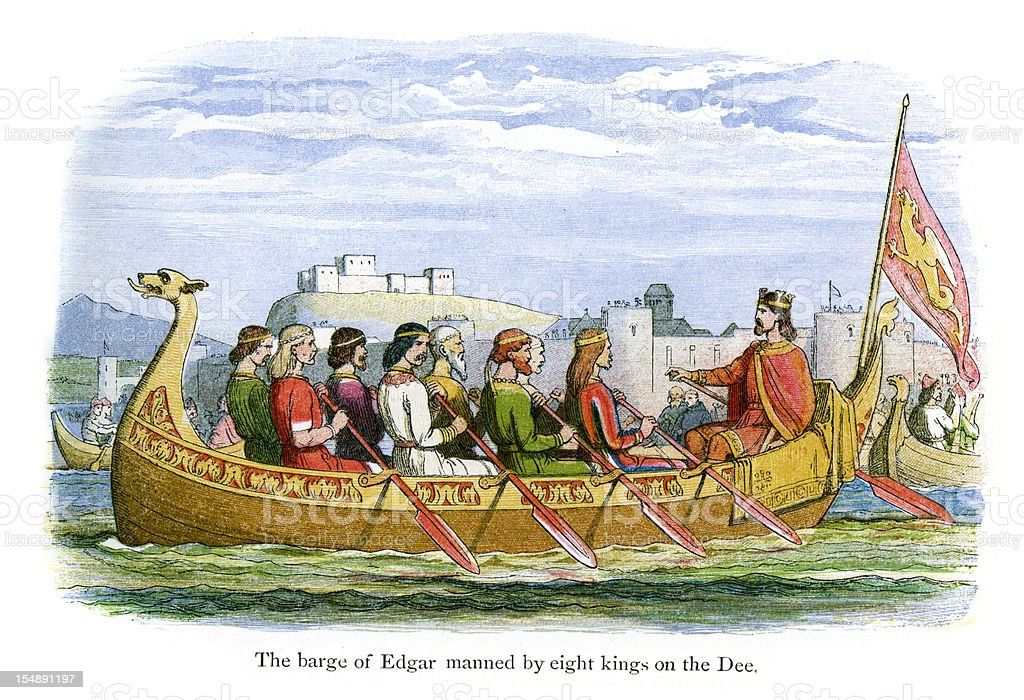 The Barge of Edgar manned by eight Kings vector art illustration