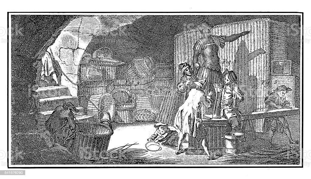 The basket-maker (antique engraving) stock photo