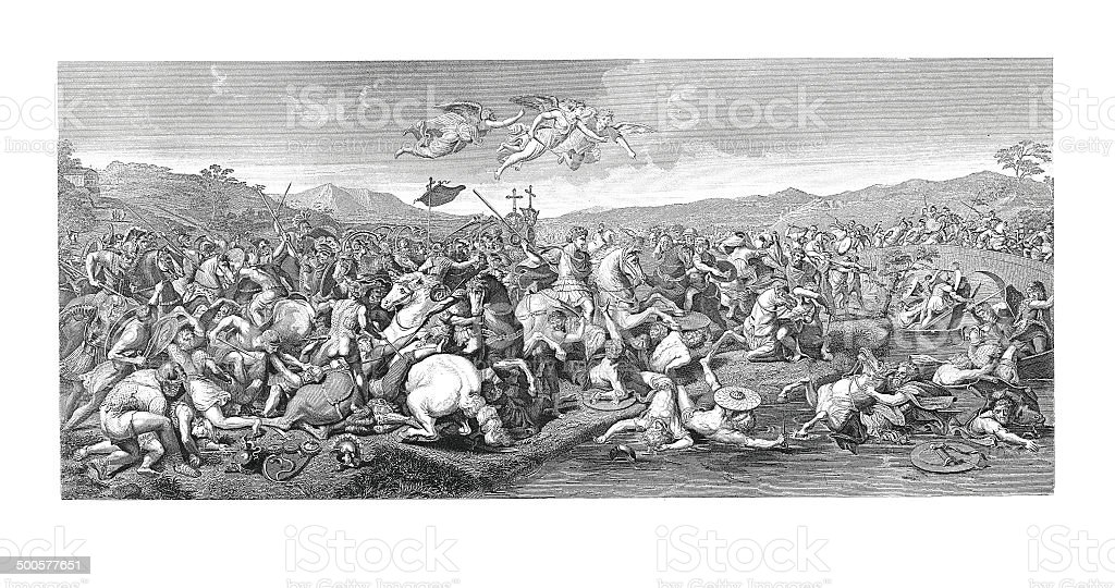 The battle of Constantine (antique engraving after Gulio Romano's fresco) royalty-free stock vector art