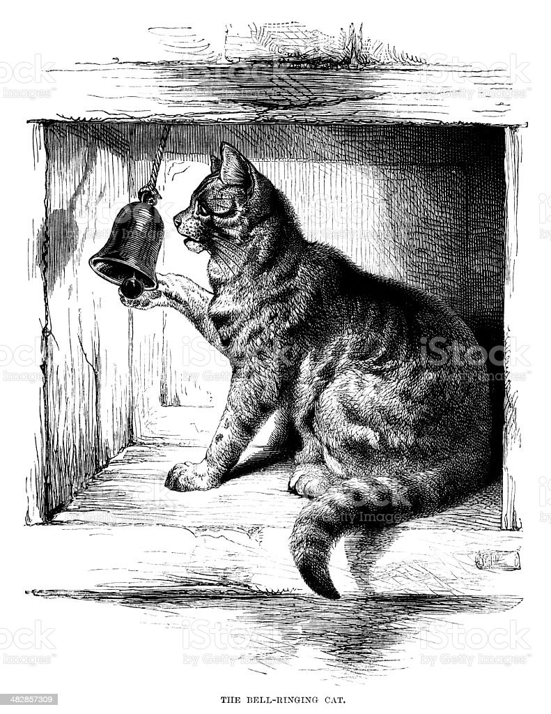 The Bell-Ringing Cat - Victorian illustration vector art illustration