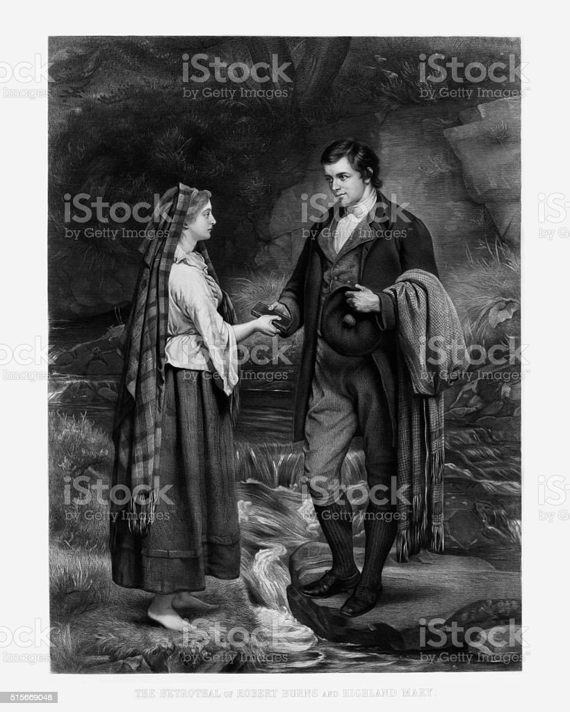 The Betrothal of Robert Burns and Highland Mary Engraving, 1886 vector art illustration