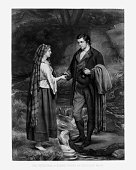 The Betrothal of Robert Burns and Highland Mary Engraving, 1886