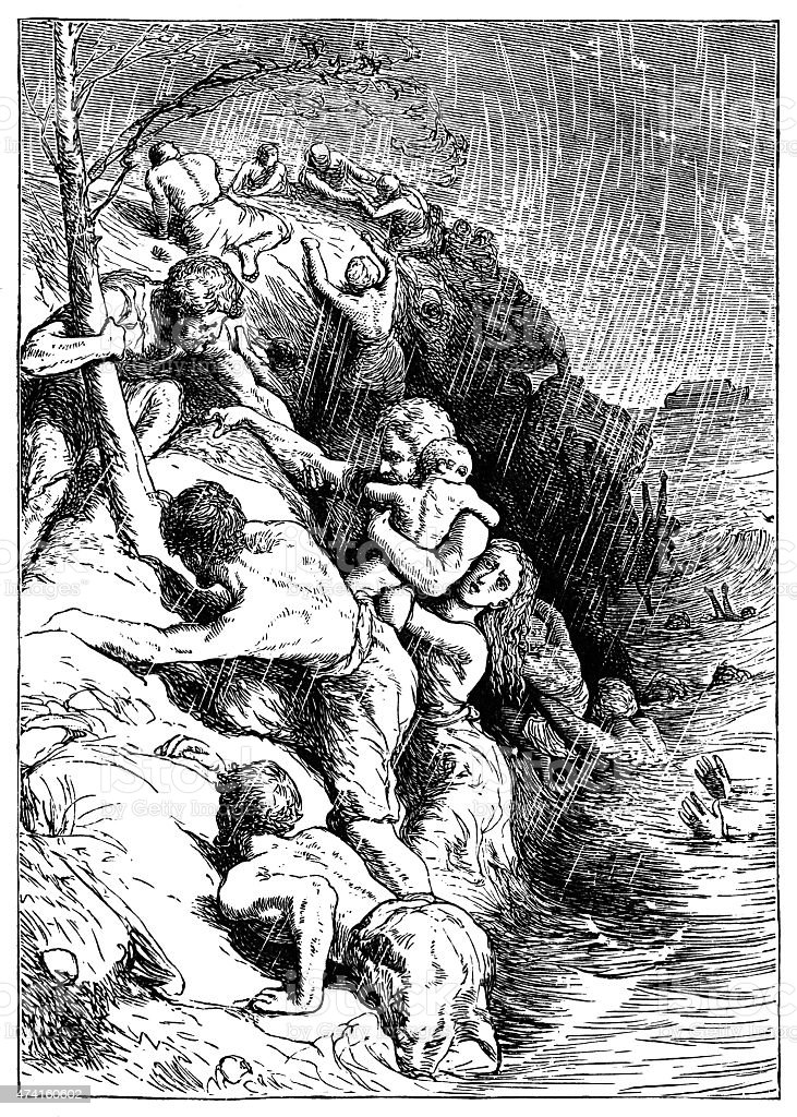 The Biblical Flood - Victorian engraving vector art illustration