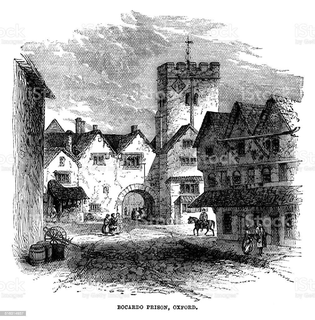 The Bocardo Prison in Oxford, England vector art illustration