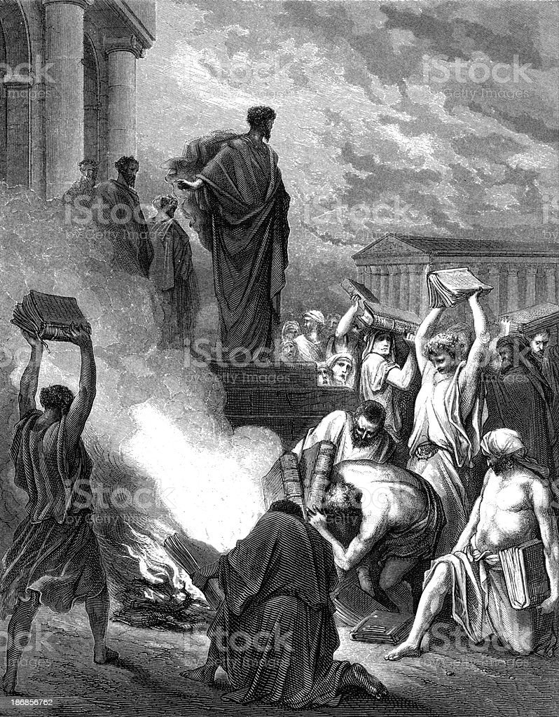 The books are burned at Ephesus vector art illustration