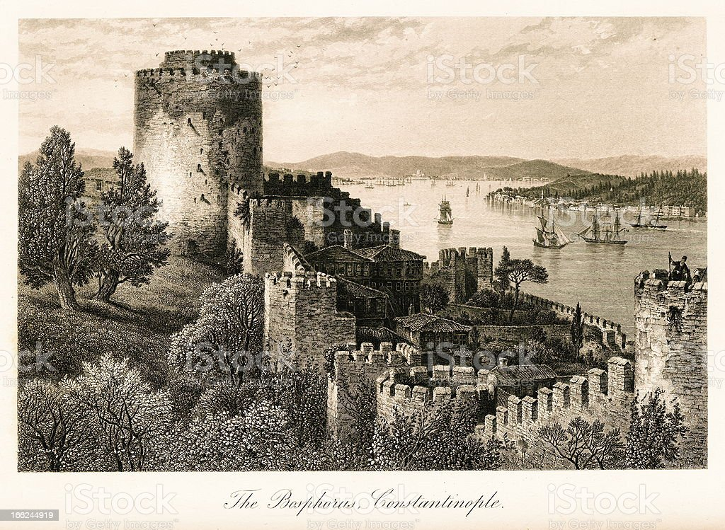 The Bosphorus, Turkey (antique steel engraving) royalty-free stock vector art