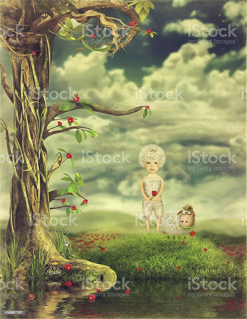 The boy and sheep on a glade collect flowers vector art illustration