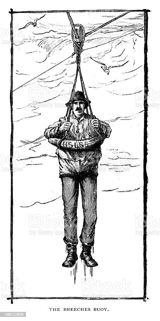 The Breeches Buoy vector art illustration