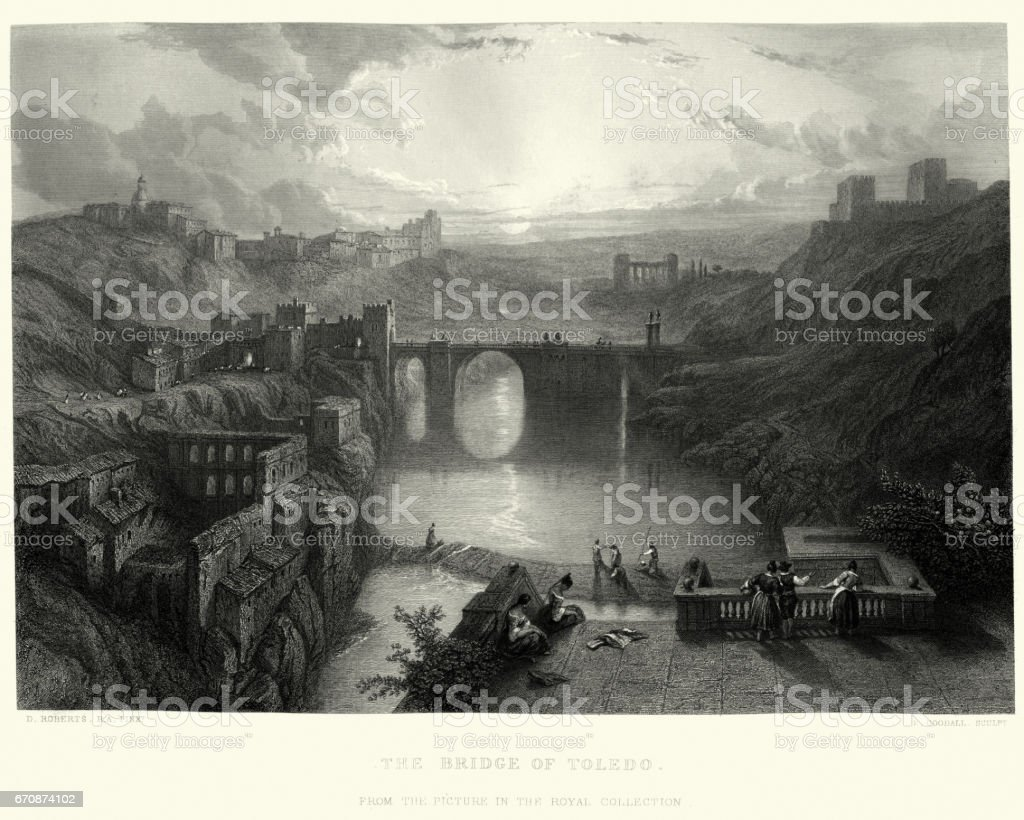 The Bridge of Toledo vector art illustration