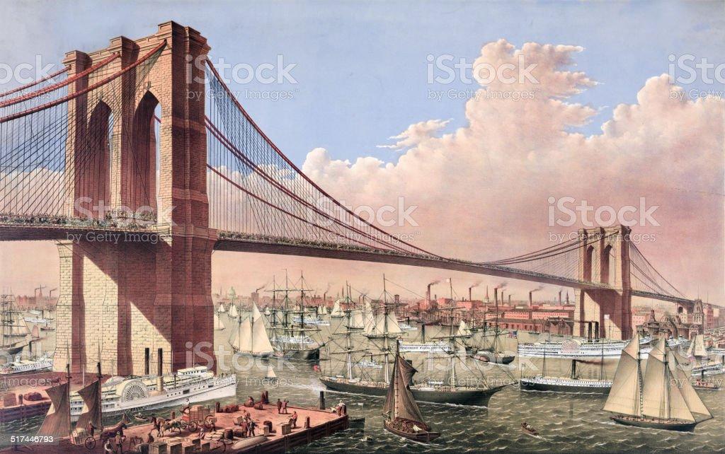 The Brooklyn Bridge vector art illustration