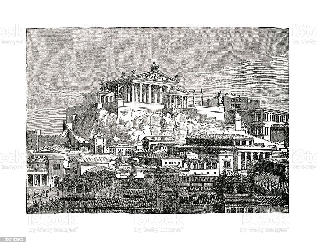 The Capitol, Rome, Italy (antique engraving) vector art illustration