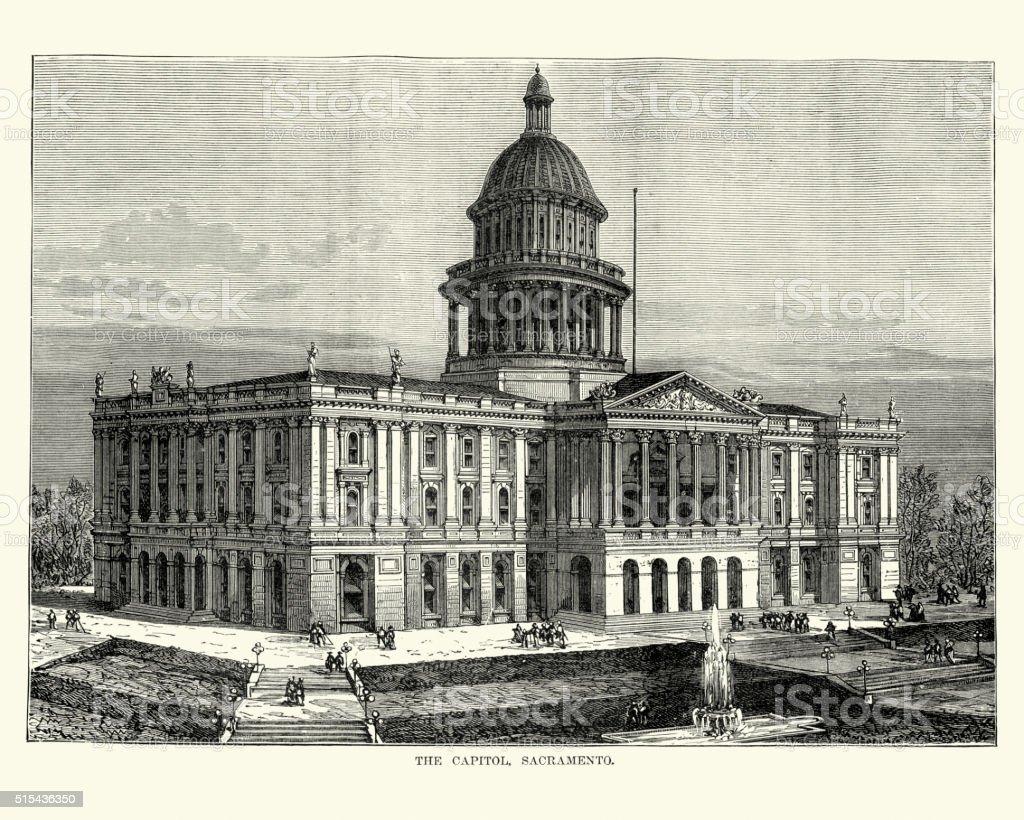 The Capitol, Sacramento in the 19th Century vector art illustration