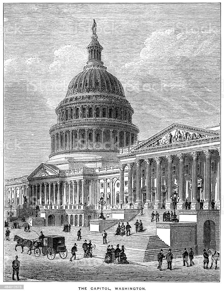 The Capitol, Washington (1882 engraving) vector art illustration