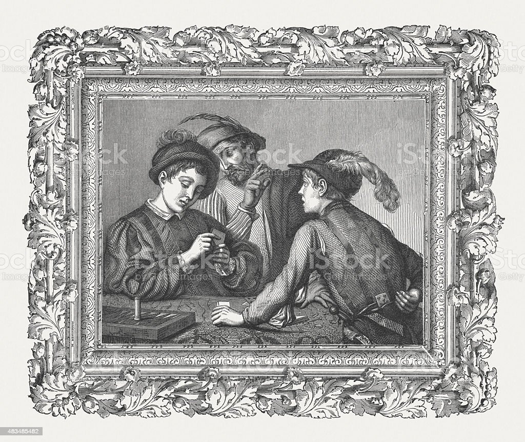 The Cardsharps by Caravaggio (Italian painter), published in 1878 vector art illustration