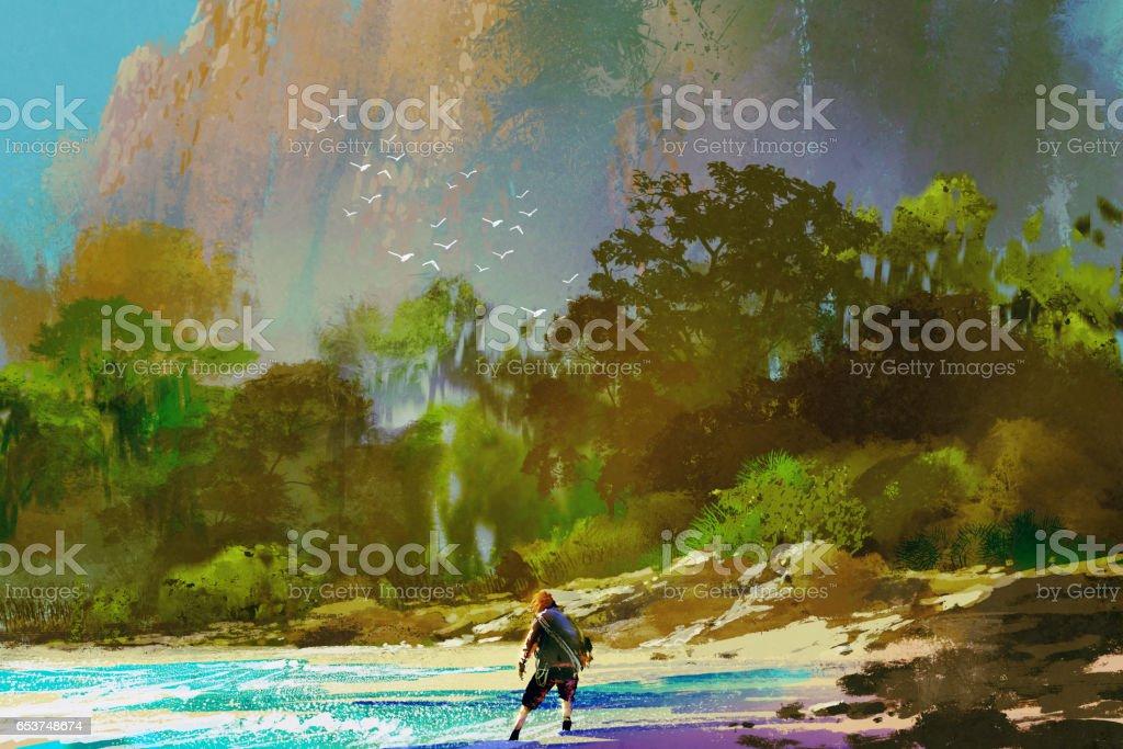 the castaway man standing on island beach vector art illustration