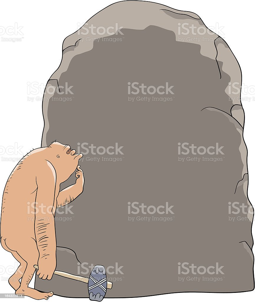 The cave person and stone royalty-free stock vector art