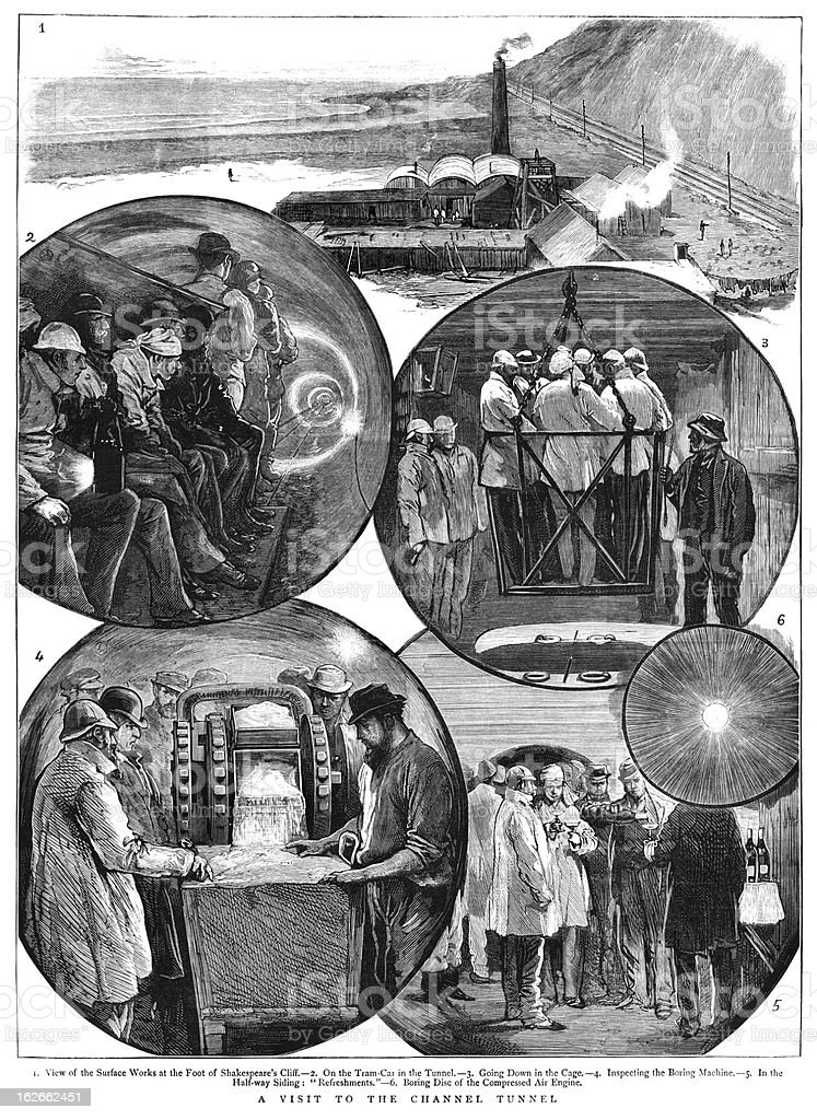 The channel tunnel of 1882 vector art illustration