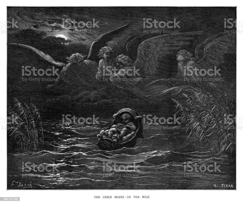 The child Moses on the Nile 1870 vector art illustration