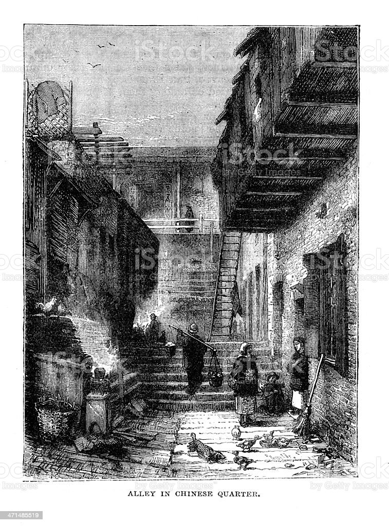 The Chinese quarter San Francisco  from 1880 journal royalty-free stock vector art