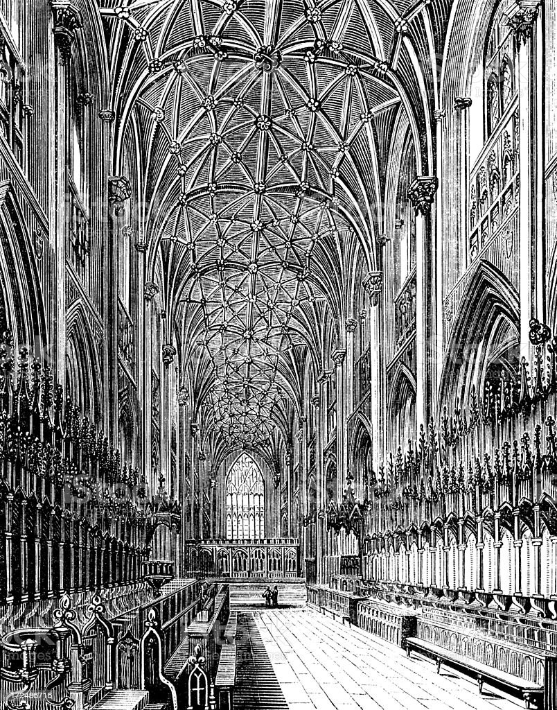 The Choir in York Minster (Victorian woodcut) royalty-free stock vector art