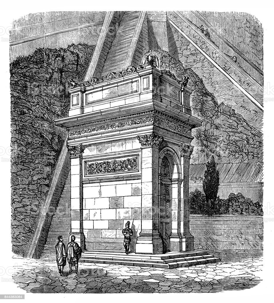 The closed Janus temple. vector art illustration