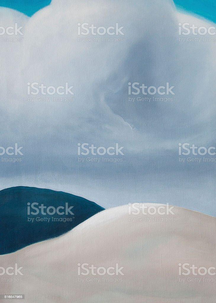 The cloud serene landscape oil painting vector art illustration