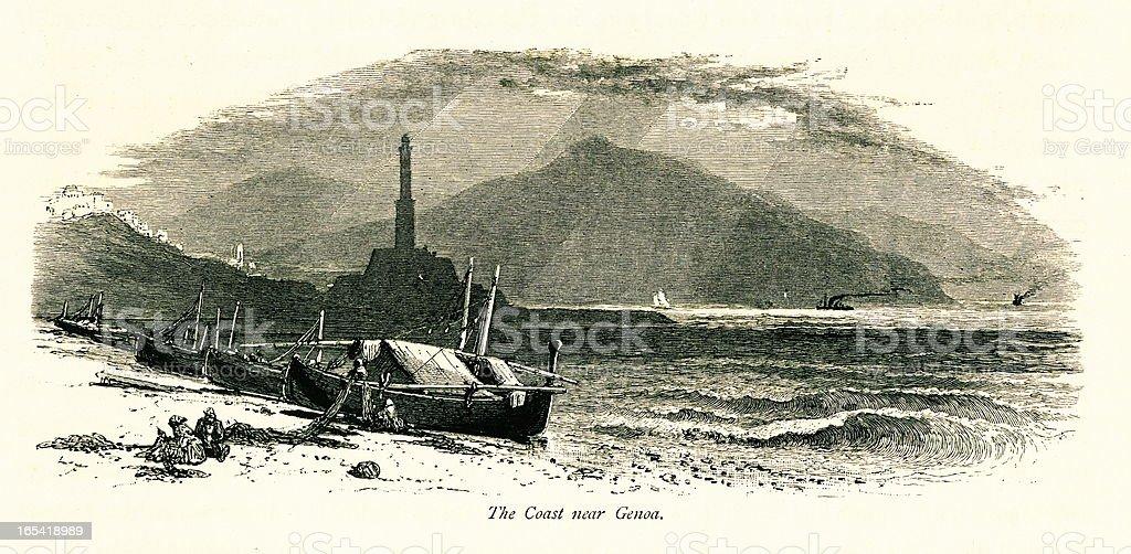 The coast near Genoa, Italy I Antique European Illustrations royalty-free stock vector art