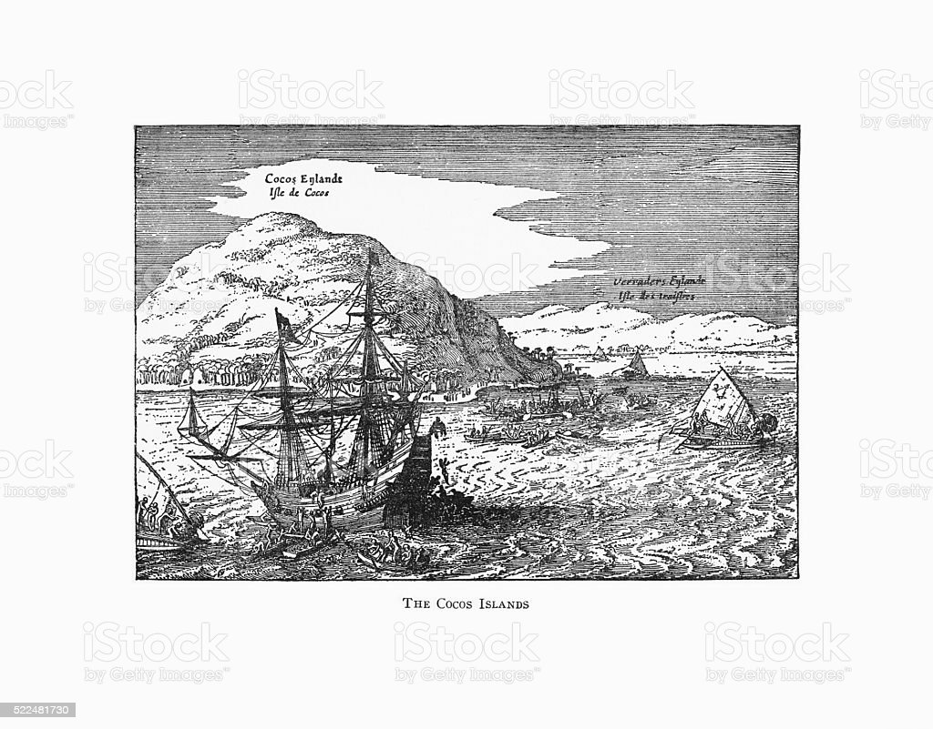 The Cocos Islands Dutch Navigation, Victorian Illustration vector art illustration