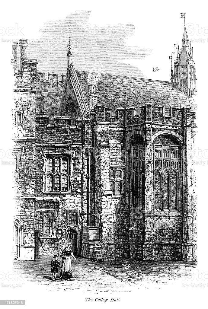 The College Hall at Eton vector art illustration