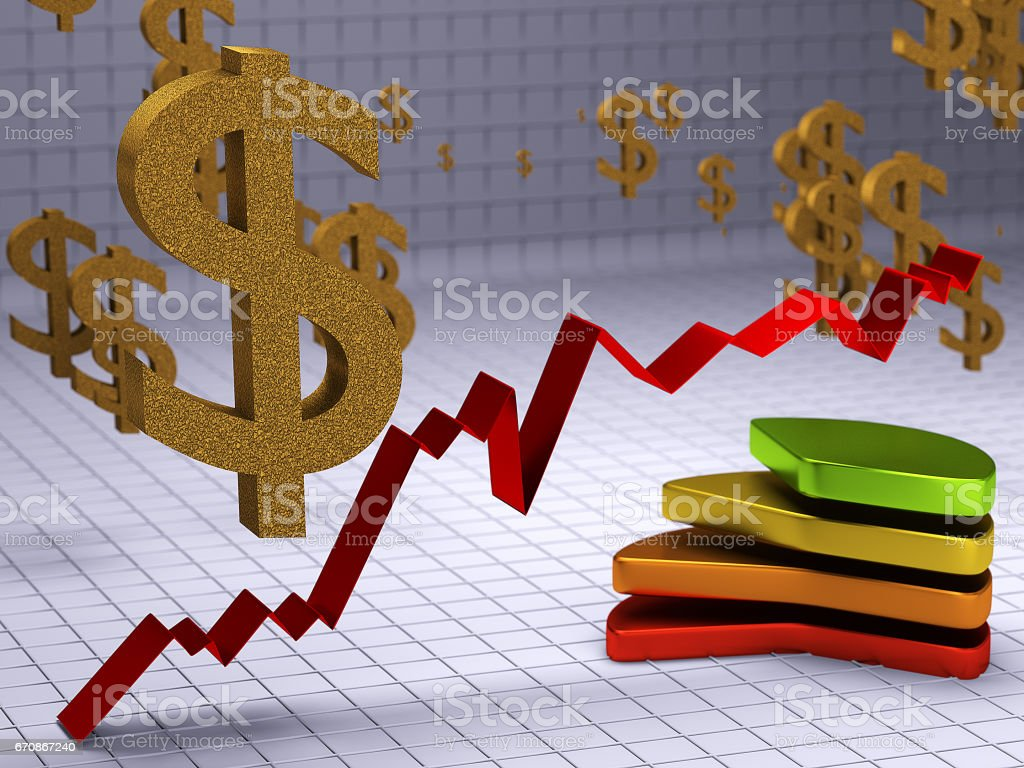 The concept of dollar growth. 3D illustration vector art illustration