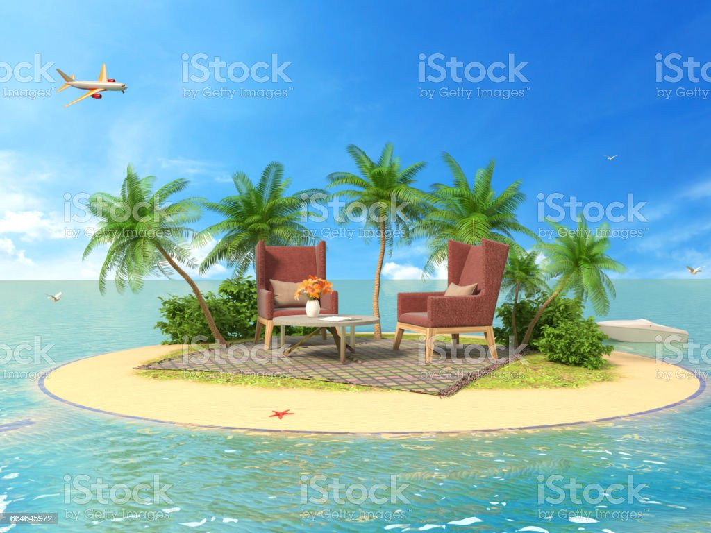 The concept of vacation. Rest on soft furniture on the island. 3d illustration stock photo