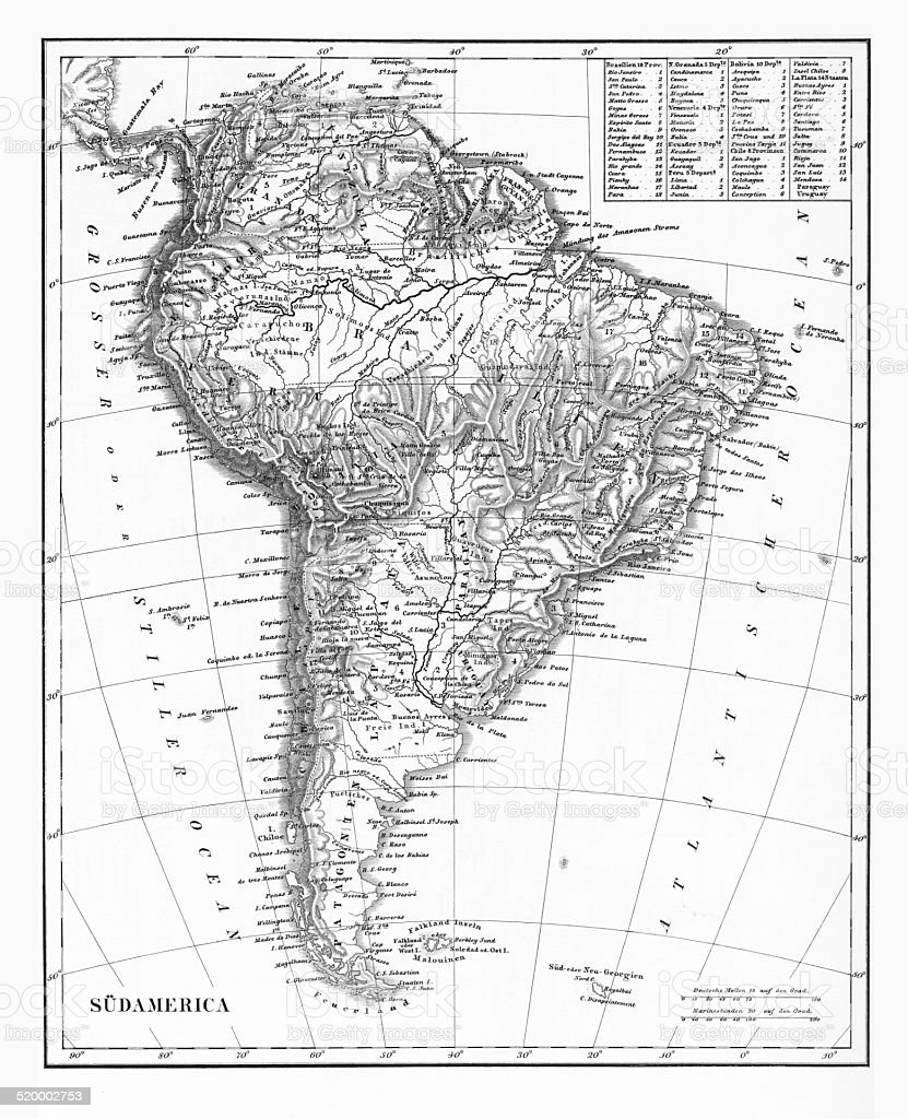 The Continent of South America, Circa 1850 stock photo