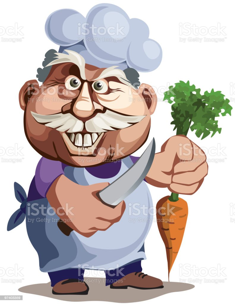 The cook with a knife and carrot royalty-free stock vector art