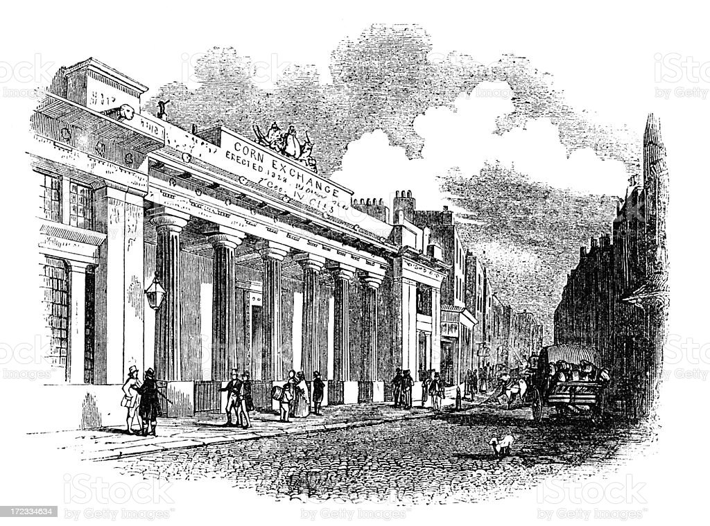 The Corn Exchange, Mark Lane, London (Victorian woodcut) royalty-free stock vector art