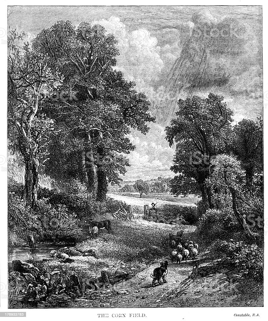 The Corn Field by John Constable from 1880 journal royalty-free stock vector art