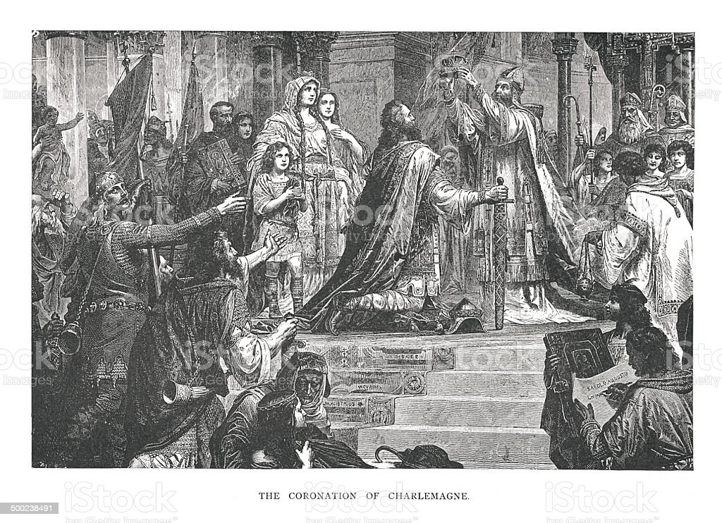 The Coronation of Charlemagne (antique engraving) vector art illustration
