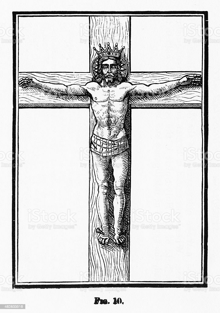 The Crucifixion of Christ Christian Symbolism Engraving vector art illustration