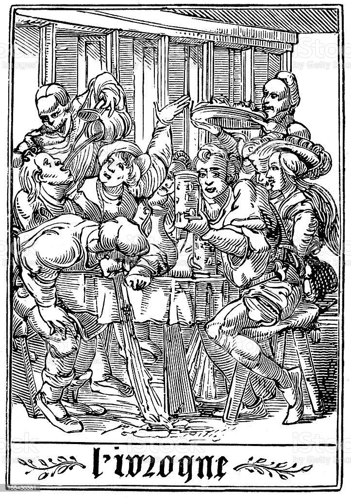 The Dance of Death - Drunkard vector art illustration