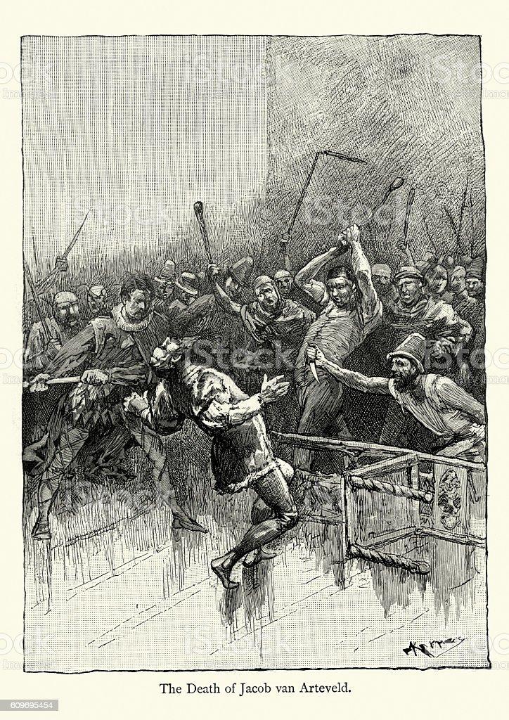 The Death of Jacob van Artevelde vector art illustration