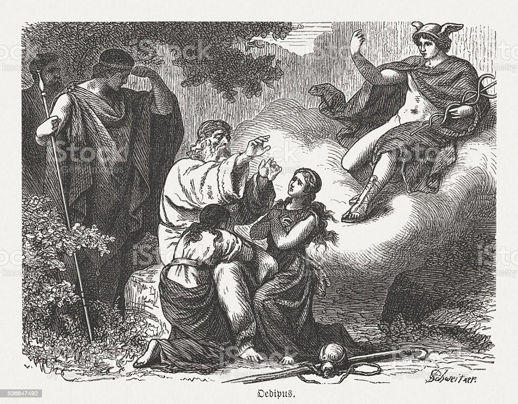 The death of Oedipus, Greek mythology, wood engraving, published 1880 vector art illustration