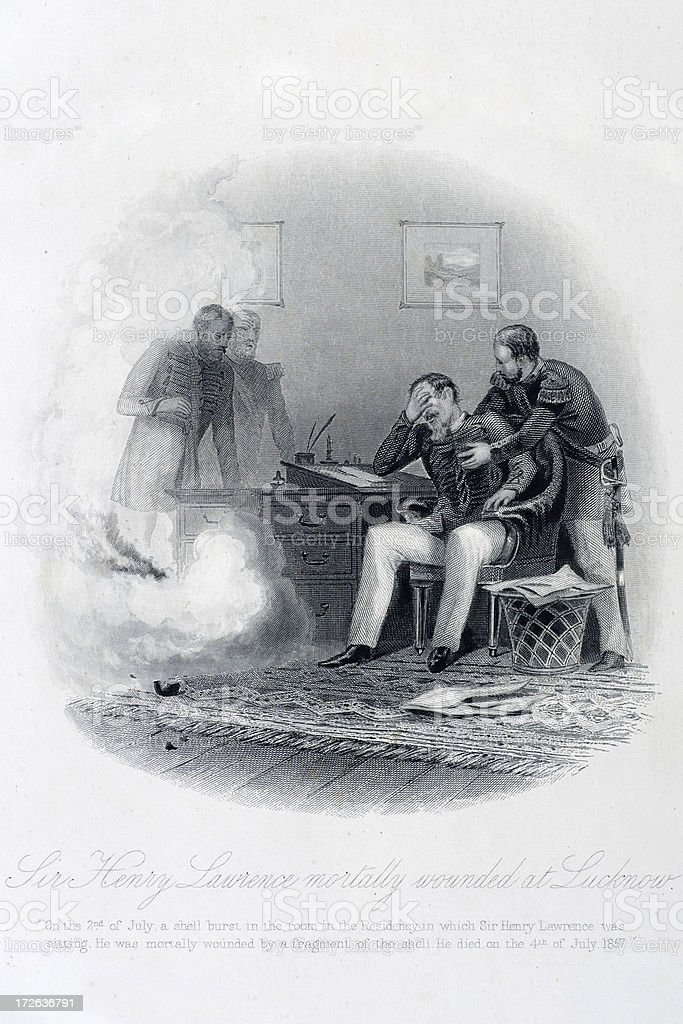 The Death of Sir Henry Lawrence vector art illustration