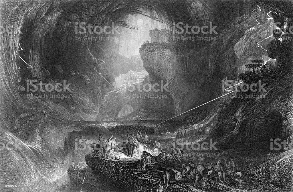 The Deluge (1852), biblical flood (engraved illustration) royalty-free stock vector art