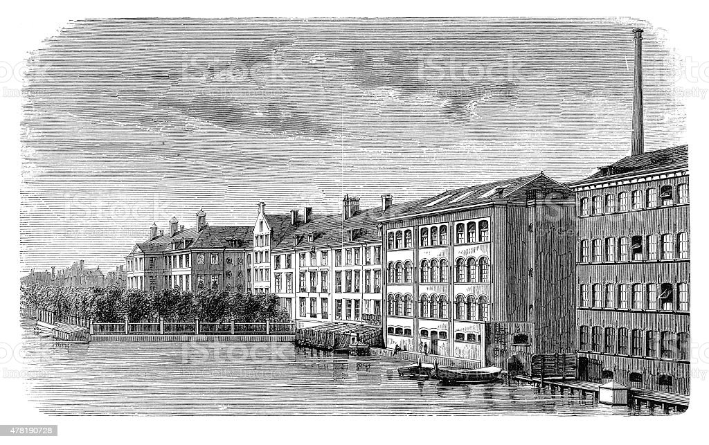 The diamond-cutting works on the Amstel (antique engraving) vector art illustration