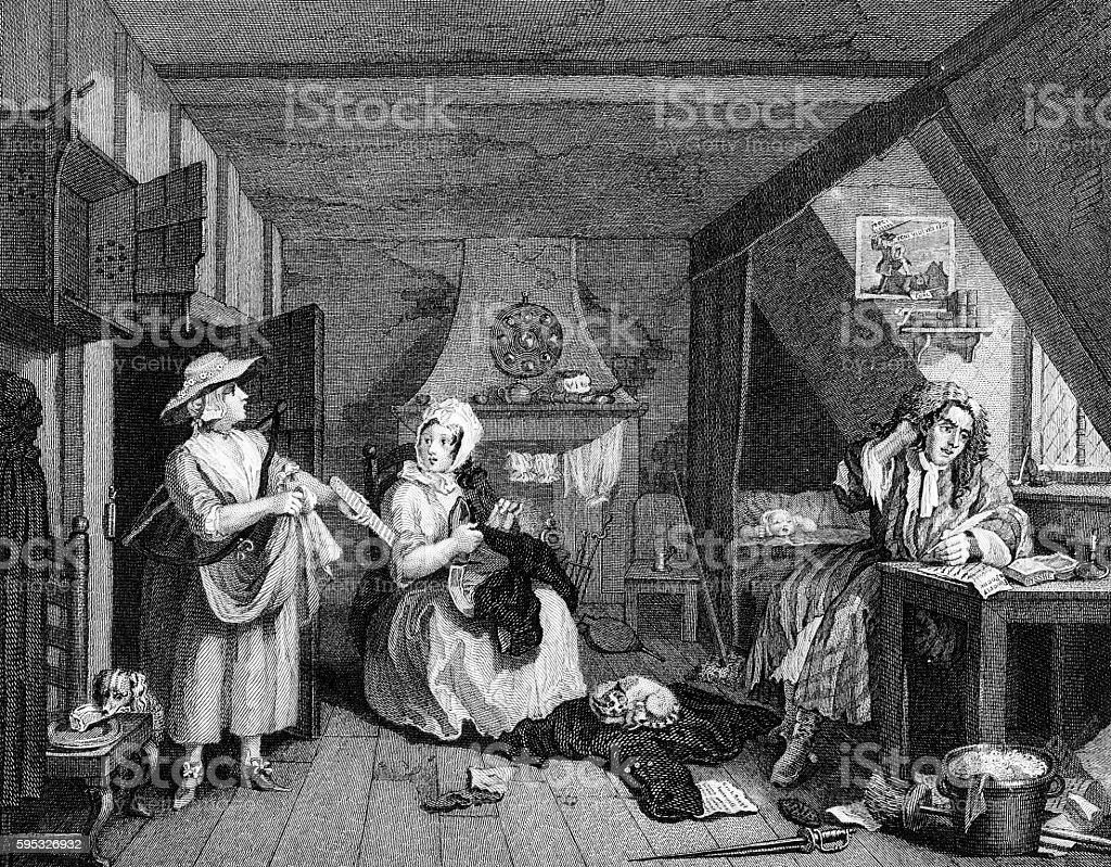The Distressed Poet, by William Hogarth vector art illustration