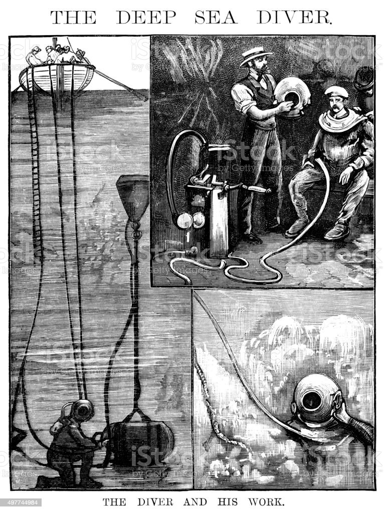 The Diver and his work (Victorian engraving) vector art illustration
