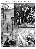 The Diver and his work (Victorian engraving)
