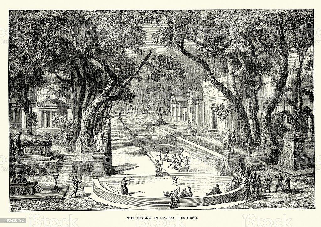 The Dromos (Racecourse) in Ancient Sparta vector art illustration