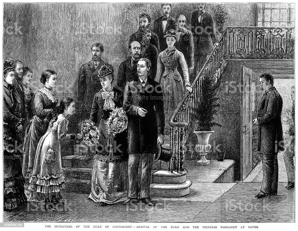 The Duke of Connaught's betrothal vector art illustration